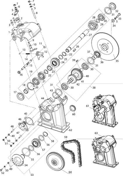 Коробка реверса и привод спидометра