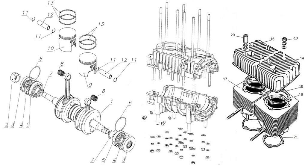 Блок двигателя (Картер, поршни, цилиндры, вал коленчатый)