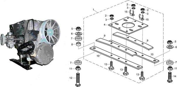Двигатель и подмоторное основание