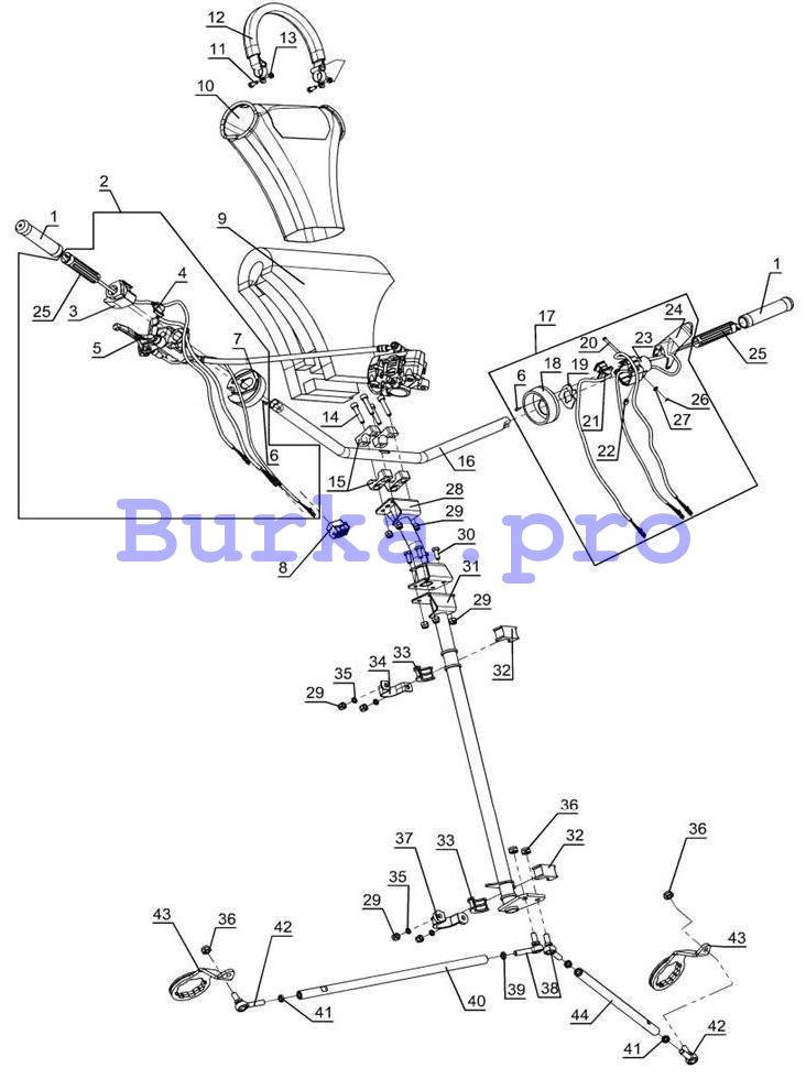Управление рулевое Тайга нового образца с гидравл.тормозом